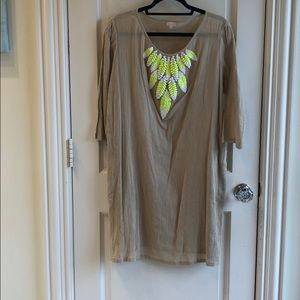 Nude coverup with sequin embroidery